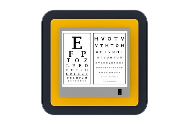 Snellen eye chart test light box como touchpoint web icon button em um fundo branco. renderização 3d