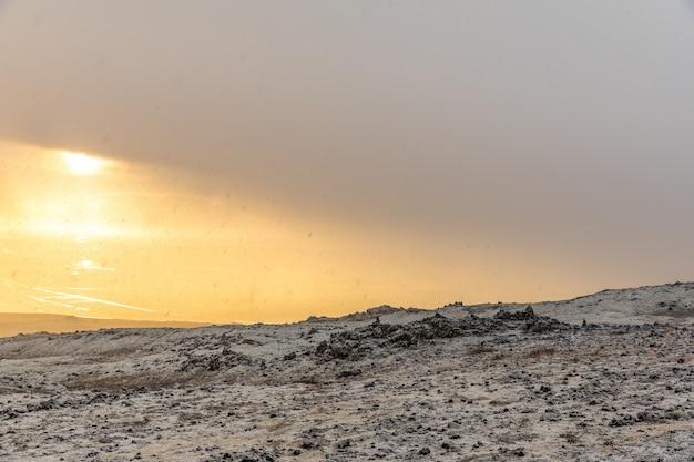 Snowy winter mountain range