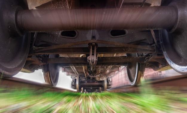 Sob o trem de carga. trem pesado em movimento.