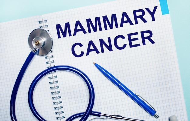 Sobre um fundo azul claro, um caderno aberto com as palavras câncer de mamária