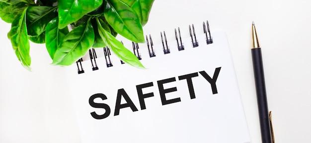 Sobre um fundo branco uma planta verde, um caderno branco com a inscrição segurança e uma caneta