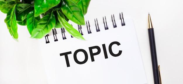 Sobre um fundo branco, uma planta verde, um caderno branco com a inscrição topic e uma caneta