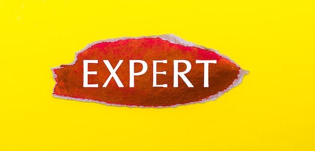 Sobre uma superfície amarela, uma folha de papel vermelho com a palavra especialista