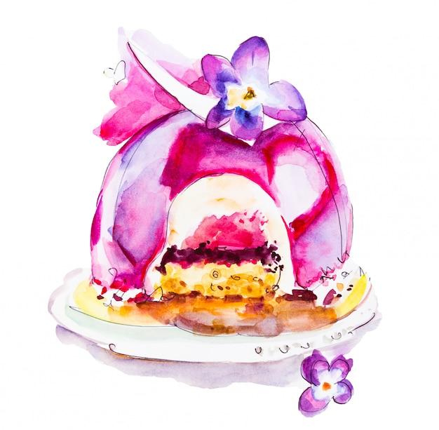 Sobremesa bolo aquarela