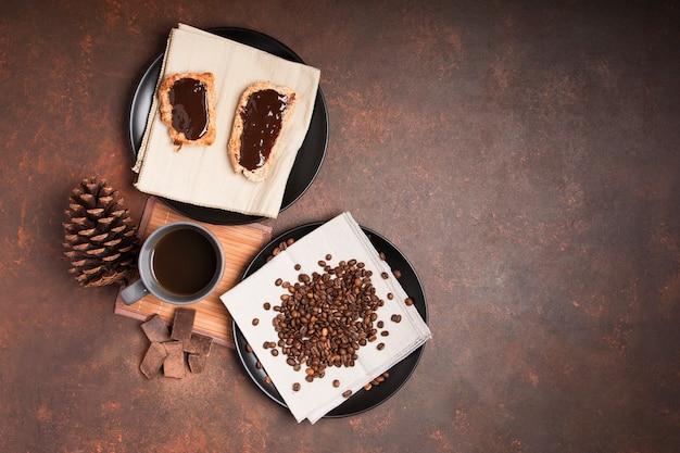 Sobremesa de chocolate com espaço de cópia