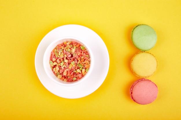 Sobremesa doce macaron ou macaroon