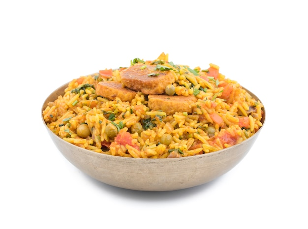 Sobremesa tradicional indiana veg biryani