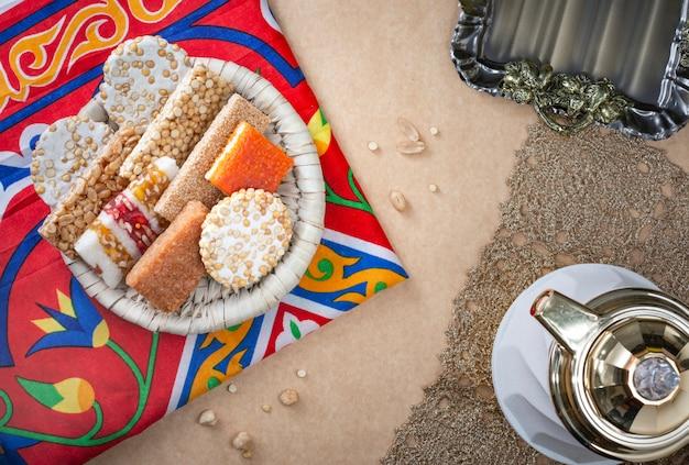 Sobremesas da celebração do aniversário do profeta muhammad egípcio