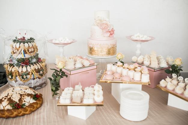 Sobremesas de mesa de casamento