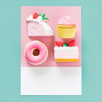 Sobremesas doces em um cartão colorido