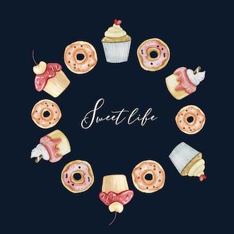 Sobremesas e quadro de círculo de comida para padaria, menu ou restaurante. sobremesas doces Foto Premium
