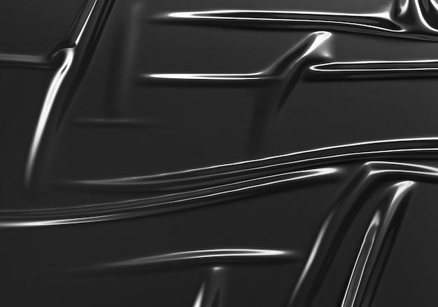 Sobreposição de envoltório de folha de plástico amassado preto em branco, renderização em 3d. violoncelo decorativo texturizado vazio. fólio de proteção transparente ou efeito de celofane