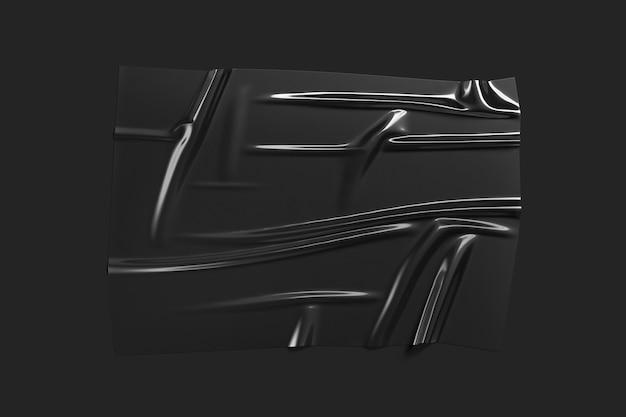 Sobreposição de envoltório de folha de plástico preto em branco, fundo escuro, renderização em 3d. efeito de folha de invólucro acidentado vazio. pacote de polímero portador transparente para caixa ou decoração.
