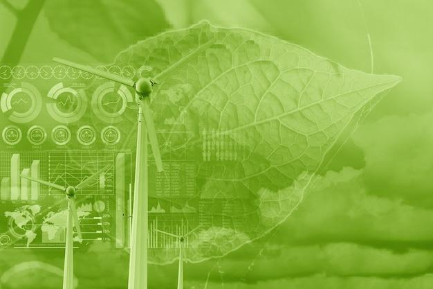 Sobreposição de turbina eólica com folha de planta e infográfico de dados para eco verde energia tecnologia de energia amigável ao meio ambiente ciência de dados e conceito de fundo de pesquisa