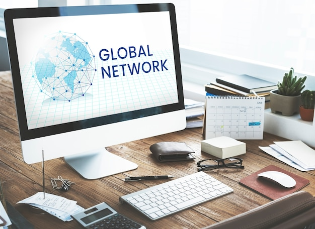 Sobreposição gráfica de conexão de rede no computador