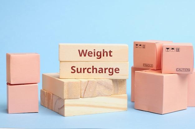 Sobretaxa de peso do termo da indústria de correio. o aumento do custo de entrega.