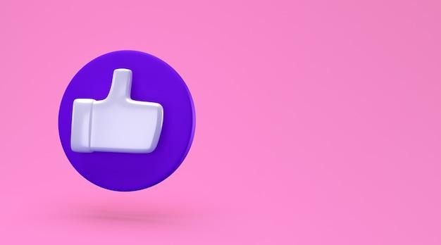 Social como conceito mínimo. renderização 3d. ícone de gosto em um círculo azul