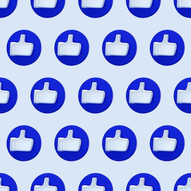 Social como padrão sem emenda de conceito mínimo. renderização 3d. ícone de gosto em um círculo azul