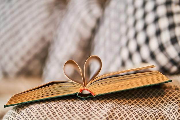 Sofá aconchegante favorito com almofadas quadriculadas para a leitura de livros. um quarto aconchegante e aconchegante para privacidade e leitura tranquila de livros.