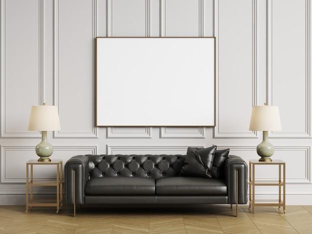 Sofá adornado clássico, mesas laterais e lâmpadas em interiror clássico com espaço de cópia. paredes brancas com molduras. espinha de peixe em parquet. renderização em 3d