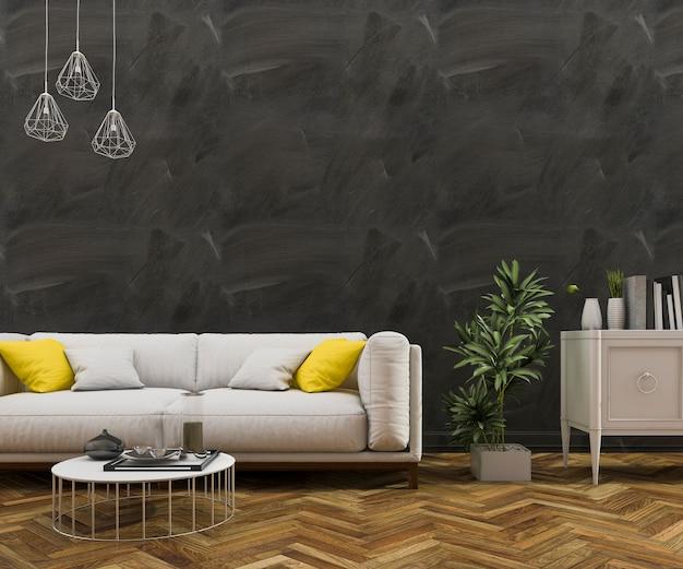 Sofá agradável da rendição 3d com projeto de madeira abstrato da parede