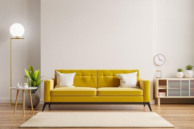 Sofá amarelo e mesa de madeira no interior da sala de estar com planta, parede branca. renderização 3d