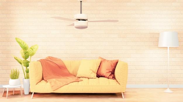 Sofá amarelo no design de interiores da sala do sotão, design da parede de tijolo. renderização em 3d