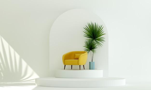 Sofá amarelo no pódio expositor de cosméticos com fundo de parede branca renderização 3d
