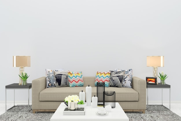 Sofá bege cor sala de estar piso de madeira fundo textura lâmpada interior