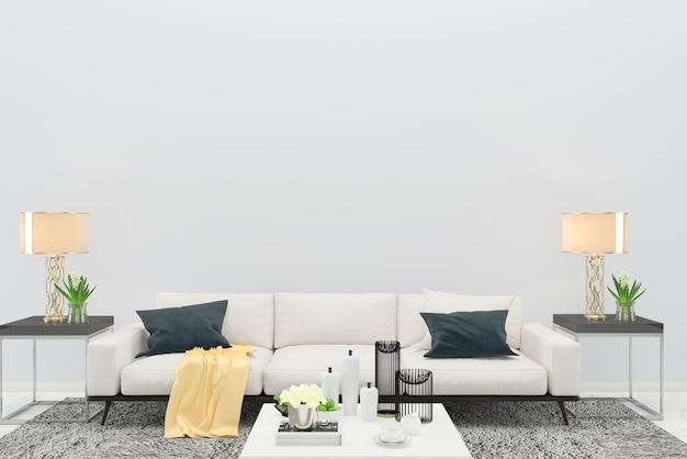 Sofá branco cor sala de estar piso de madeira fundo textura lâmpada quadro interior