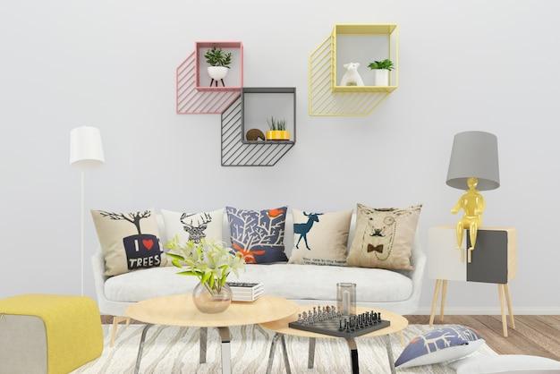Sofá branco cor travesseiro prateleira sala de estar piso de madeira fundo textura lâmpada vaso árvore