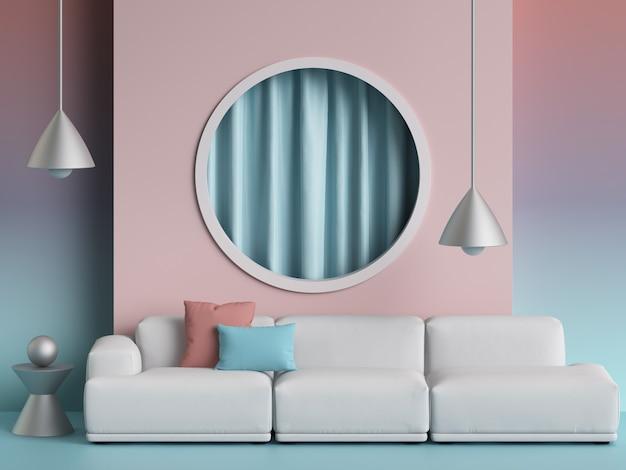 Sofá branco em estilo escandinavo. paredes em tons pastel de rosa e lavanda com espaço de cópia