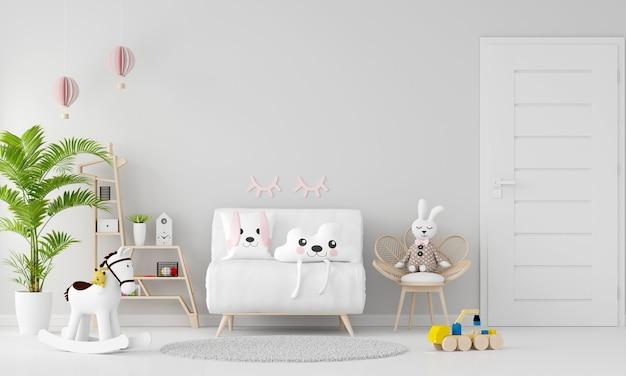 Sofá branco no interior do quarto infantil com espaço de cópia