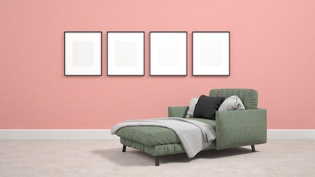 Sofá-cama verde na sala de estar com cartazes na parede