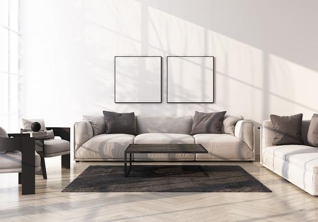 Sofá cinza com poltrona no piso de madeira em renderização 3d de sala branca