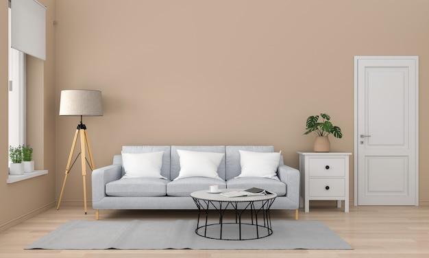 Sofá cinza e mesa na sala de estar