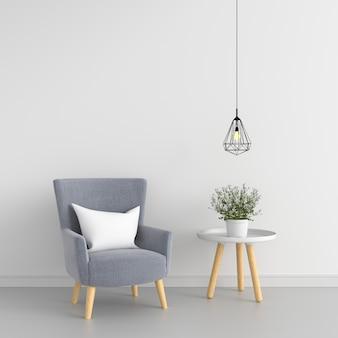 Sofá cinza e mesa no quarto branco