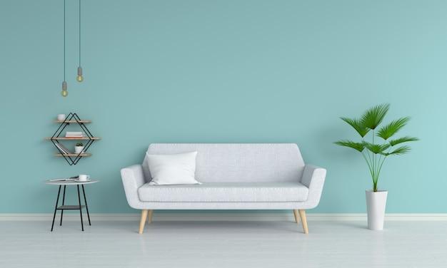 Sofá cinza e travesseiro na sala de estar, renderização em 3d