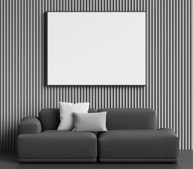 Sofá cinza em estilo escandinavo. paredes em cores cinza, com espaço de cópia