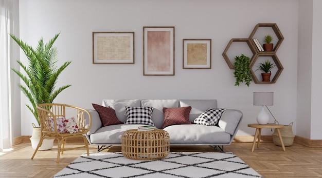 Sofá cinza em fundo de parede cinza com prateleiras e fotos, renderização em 3d
