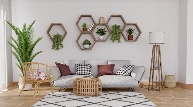 Sofá cinza em fundo de parede cinza com prateleiras hexagonais, renderização em 3d