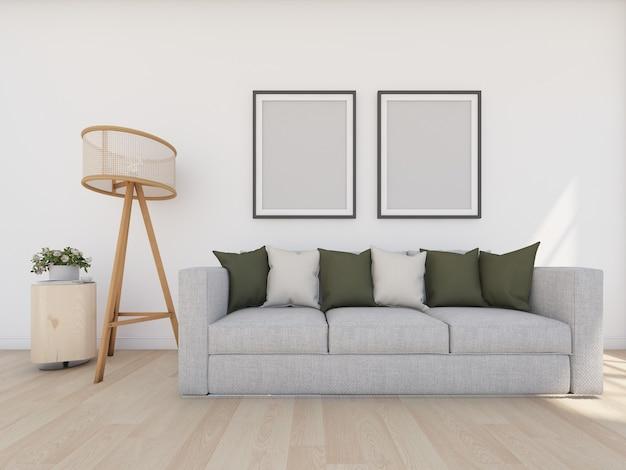Sofá cinza em sala branca com moldura e luminária de chão