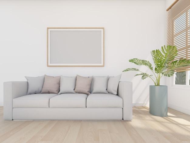 Sofá cinza em sala branca com moldura