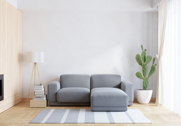 Sofá cinza na sala de estar branca