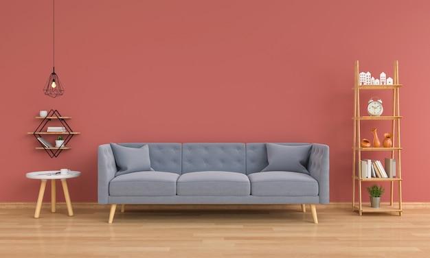 Sofá cinza na sala de estar