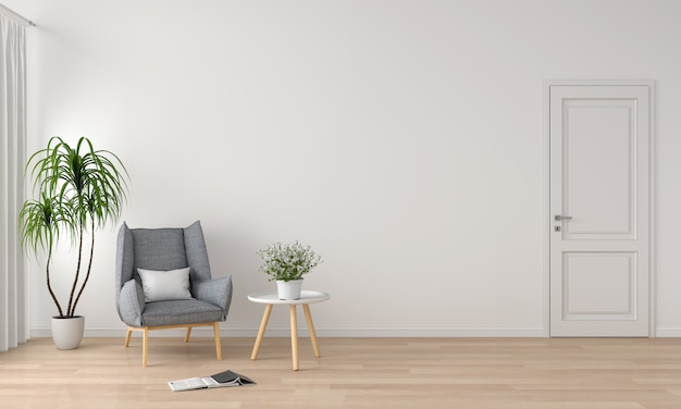 Sofá cinza no interior da sala de estar branca para maquete