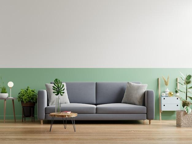 Sofá cinza no interior de uma sala de estar simples, renderização em 3d