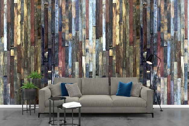 Sofá cinza parede de madeira branco piso de concreto fundo textura modelo vaso de árvore