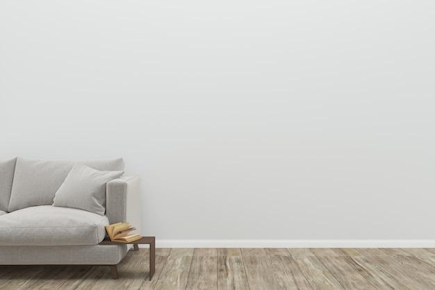 Sofá cinza sala de estar piso de madeira velha textura 3d
