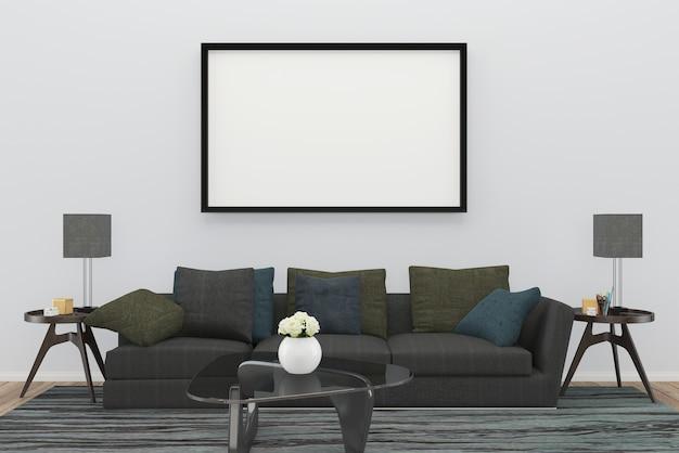 Sofá cinza sala de estar tapete mesa piso de madeira fundo textura lâmpada moldura de mármore vaso